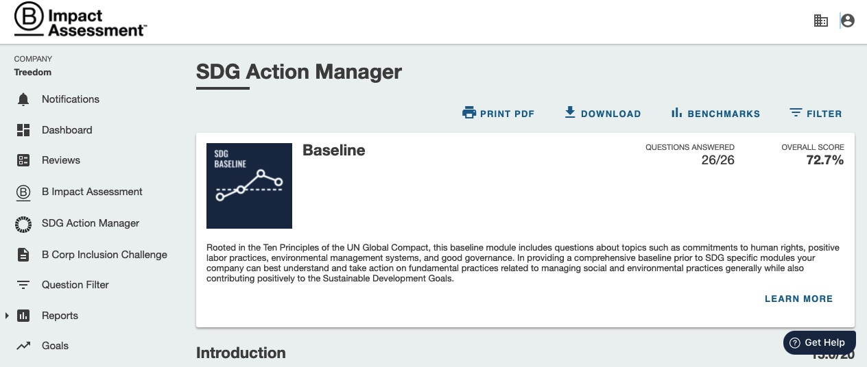 SDGs action manager baseline