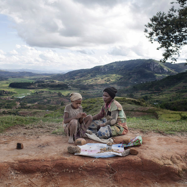 Center of Madagascar, March 2013. A local seller of peanuts on the road between Antsirabe and Fianarantsoa.